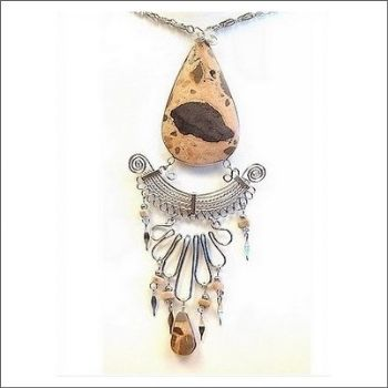 Peruvian Medallion Necklace with Leopardite